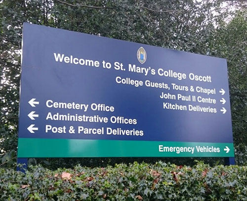 St Mary's College directional panel sign