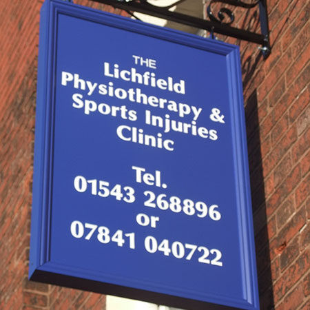 Litchfield Physio Clinic double sided suspended sign
